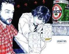 I always imagined her illustrations started from candid Polaroids.  Hope Gangloff = great