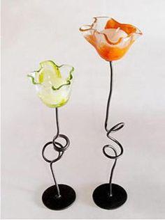 tulipán porta velas vidrio,metal, fundiciòn en vidrio,