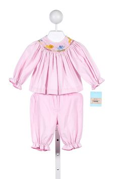 29f9f270925 ANAVINI 2 PIECE PINK CORDUROY PANT SET WITH ANIMAL TRAIN SMOCKING