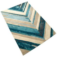 Cyan Design Chevron Hand-Tufted Blue/Ivory Area Rug Rug Size: