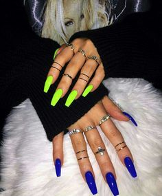Bright Acrylic Nails Coffin 30 bright manicure ideas for different color nails. Trend big trends in nails are the coffin shape and matte. We love both these styles and so do celebrities like Rihanna. Not only do the two look styli Bright Summer Acrylic Nails, Best Acrylic Nails, Acrylic Nail Designs, Bright Colored Nails, Colorful Nails, Bright Blue Nails, Royal Blue Nails, Bright Nail Designs, Acrylic Nails Green