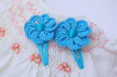 Crochet hair clips  Set of two  Blue crochet by MyLittlePaula, €10.00