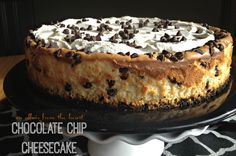 This chocolate chip cheesecake is made of a chocolate cookie crust, layered with creamy cheesecake center full of chocolate chips and topped with a sweet sour cream... it's perfect in every way.
