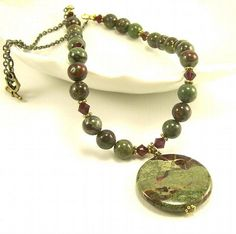 Dragon Blood Jasper Stone Necklace, Green