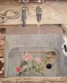 Mary Potter (British, Title: Flowers in the sink Medium: Oil on Canvas Size: 61 x 51 cm. Paintings I Love, Beautiful Paintings, Painting Styles, Art Inspo, Painting & Drawing, Decoration, Canvas Art, Canvas Size, Illustration Art