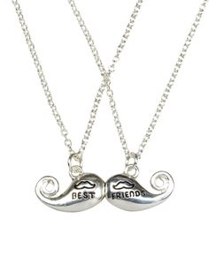 Justice for Girls BFF Magnetic Mustache Necklace ini! Bff Necklaces, Best Friend Necklaces, Friendship Necklaces, Best Friend Jewelry, Cute Necklace, Best Friends For Life, Best Friend Goals, Best Friends Forever, Gifts For Friends