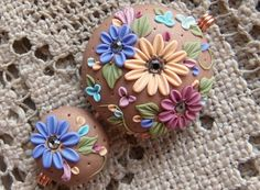 Artisan Polymer Clay Bead Set   Focal Bead  by MoobieGraceDesigns