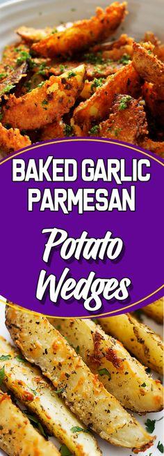 BAKED GARLIC PARMESAN POTATO WEDGES #vegetarian #vegetarianrecipes #vegan #cookinglight #sundaysupper #veganfood