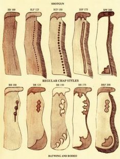 pattern for chaps Leather Tooling Patterns, Leather Pattern, Shotgun Chaps, Cowboy Gear, Cowgirl Chaps, Cowboy Spurs, Rodeo Cowboys, Cowboy Pictures, Horse Gear