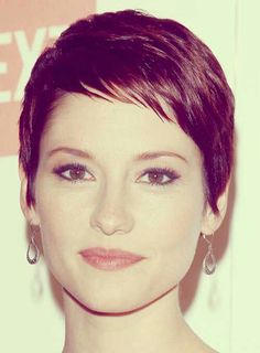 Amazing Purple Color Pixie Hair Cut with sideburns and shortside shaped, knife cut bangs. ✂