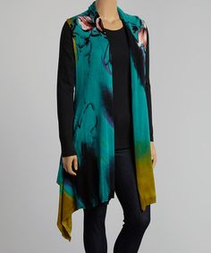 Love this Teal & Pink Watercolor Sidetail Vest - Plus on #zulily! #zulilyfinds
