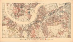 Descriptive map of London poverty, Charles Booth –––––– Edward Stanford Ltd. Charles Booth Date : 1889 Composite : (London) Descriptive map of London po. Victorian London, Flat Ideas, Vintage World Maps, History, Prints, Image, Wikimedia Commons, Country, Rural Area