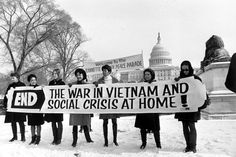 Members of a women's brigade hold a banner protesting the Vietnam War at a march led by former Montana Rep. Jeannette Rankin in Autos Hot Wheels, Jeannette Rankin, Vietnam Protests, American Exceptionalism, Vietnam War Photos, Protest Signs, History Projects, World Pictures, Look At You