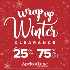 Winter Clearance going on NOW!  Also ALL Denim 30% Off #WinterClearance #ApricotLane #ApricotLanefargo