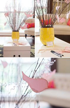 Wish Tree at a Chevron Themed Baby Shower in Yellow and Gray