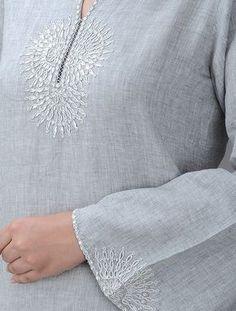 Buy Grey Embroidered Round Neck Linen Kurta with Gota Patti Women Kurtas A Touch of Elegance and pants bead work embroidery Embroidery Online, Embroidery On Kurtis, Hand Embroidery Dress, Kurti Embroidery Design, Embroidery On Clothes, Embroidered Clothes, Hand Embroidery Designs, Embroidery Patterns, Kurta Patterns