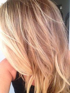 Blonde hair highlights via balayage and babylights