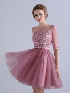 0254f90ed537 Women's Illusion Tulle 3/4 Sleeves Short Homecoming Dress Lace Appliques  Bodice. Mypuffgirl