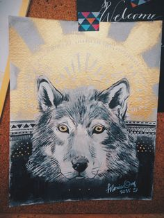 Wolf painting for my boss. Wolf Painting, Gouache, Boss, Ink, Artwork, Work Of Art, Auguste Rodin Artwork, Artworks, India Ink