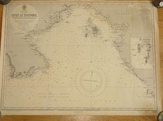 Original British Admiralty Sea Chart - Central America West Coast Gulf Of Panama (Originally Published at the Admiralty 13th August 1937) Corrections to 1946 Circa 1947  A highly prized and collectable superb Gift for a Yachtsman  A fantastic totally original sea chart (not modern reprint) that would look superb, framed and hung in a contemporary apartment, house in any classical study. This chart was acquired from an antique sale in western England with many others from around the world and…