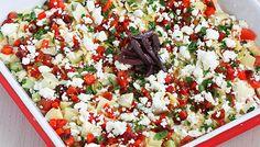 Skinny 7 Layer Mediterranean Dip (light hummus & feta)