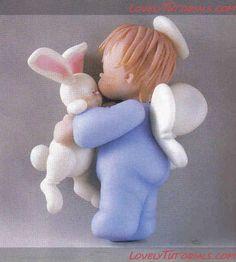 "МК лепка ""младенец-ангел с зайчиком"" -Angel Baby with bunny tutorial - Мастер-классы по украшению тортов Cake Decorating Tutorials (How To's) Tortas Paso a Paso"
