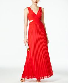 Xscape Pleated Illusion Cutout Gown