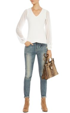 Ggt sleeve v neck jumpe | Luxury Women's knitwear | Karen Millen, £85