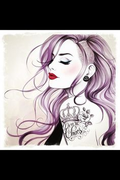 Want to do this SOOOO bad! The purple and the shaved bit... So cute!!