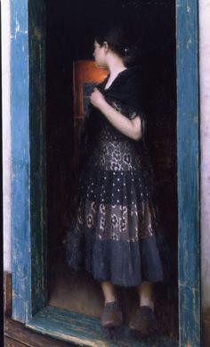 """Jeremy Lipking, """"In The Doorway,"""" Oil on Linen, 50″ x 30″"""