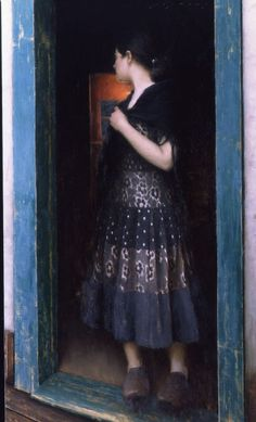 "Jeremy Lipking, ""In The Doorway,"" Oil on Linen, 50″ x 30″"
