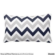 Gray and Navy Chevron Throw Pillow