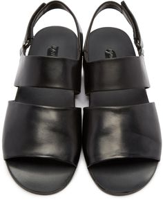 Marsèll - Black Leather Two Band Sandals