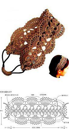 Повязка для волос крючком