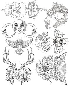 Wendy Ortiz's Tattoo Flash - First Edition release is here! Inspired by traditional americana and infused with some of Wendy's recurring lunar, lupine,feminine