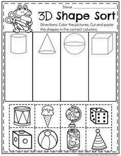 Looking for awesome shapes worksheets and games to use in your classroom? This and Shapes - Kindergarten Math Unit is filled with hands-on activities and no-prep worksheets to help children learn about and use shapes. Shape Activities Kindergarten, 3d Shapes Activities, Kindergarten Worksheets, 3d Shapes Worksheets, Math Centers, Geometry Tattoo, Geometry Art, Sacred Geometry, Physical Education