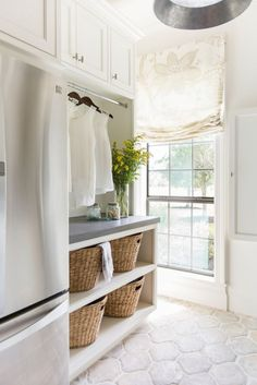 Marie Flanigan Interiors - Winning Window Treatments - Roman Shades - Relaxed roman shade in Schumacher Bali Vine fabric - Laundry Room Drapery