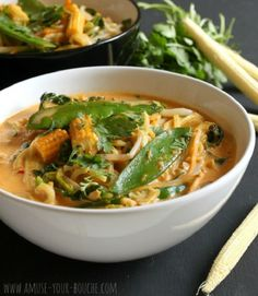 Quick Red Thai Curry Noodle Soup - Along with other Indian and Thai recipes