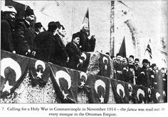 Grand mufti of the Ottoman Empire declaring jihad as the Empire entered the First World War.