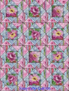 Pink Blue Roses Flowers Floral Bouquet Impressions Fabric Easy Pre-Cut Quilt Blocks Top Kit