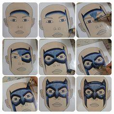 Onalee Riviera's one stroke Batman. Superhero Face Painting, Face Painting For Boys, Face Painting Tips, Face Painting Tutorials, Face Painting Designs, Body Painting, Painting Lessons, Batman, Fair Face