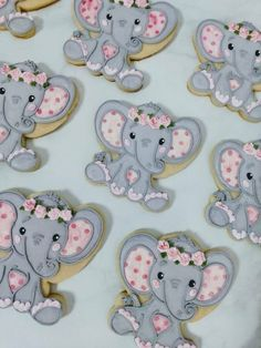 """Flower Elephant Baby Shower Cookies - 2 dozen Elephant DATE NEEDED: Please leave your event date in """"note to seller"""" during checkout. Dumbo Baby Shower, Elephant Baby Shower Cake, Baby Girl Elephant, Elephant Birthday, Elephant Theme, Baby Shower Fun, Elephant Food, Baby Shower Diapers, Baby Shower Cake Designs"""