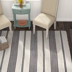 Highland Dunes Crenshaw Hand-Woven Black Area Rug Rug Size: x Striped Rug, Floor Decor, Outdoor Area Rugs, Indoor Outdoor, Outdoor Decor, Contemporary Rugs, Carpet Runner, Home Textile, Blue Area Rugs