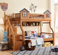 Woodland Castle Twin Bunk Bed with Stairs