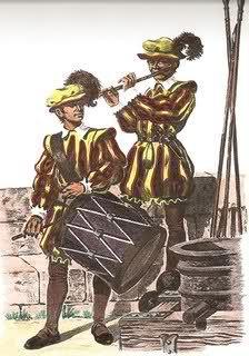 Los Tercios Españoles | Los tambores o cajas y pífanos eran los encargados de llevar las órdenes del capitán en el combate a base de los toques de sus instrumentos. También tenían una doble finalidad, subir la moral de los hombres en el combate y llevar las órdenes, pues en el fragor de la batalla era imposible llevar las órdenes a viva voz.