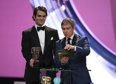 Twitter / BAFTA: Martin Freeman and Henry Cavill caught mid-announcement as they present Documentary. #EEBAFTAs --- Martin looked so great ♥