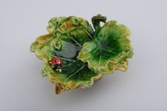 Lettuce with a Red Ladybug Trinket Box Handmade by Keren Kopal Decorated with Green Swarovski Crystals