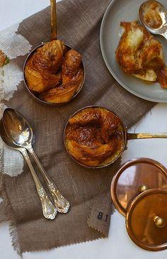 Banana, Cardamom and Caramel Croissant Puddings
