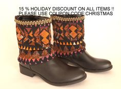 BS5408-Aztec print boho boot cuffs-Boho boot covers -Gypsy boot cuffs-70' clothing-Hippie boot cuffs-Boot socks-Boot cover-Ethnic boot cuffs