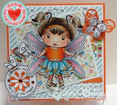 Card by Debbie Pamment featuring Club La-La Land Crafts (August 2015) exclusive Butterfly Marci, Flutter By stamp set and these Dies - Loopy Border, Loopy Butterflies, Daisies :-) Club La-La Land Crafts subscription details are here - http://lalalandcrafts.com/Club_La-La_Land_Crafts.html Coloring details and more Design Team inspiration here - http://lalalandcrafts.blogspot.ie/2015/08/club-la-la-land-crafts-august-2015-kit.html